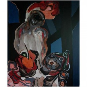 """""""El gallo""""acrílico sobre tela, 140 x 120 cm."""