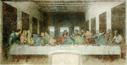 La Última Cena, 1495-1498. Temple sobre pared. 460 x 880cm. Convento de Santa María delle Grazie, Milán (Italia).